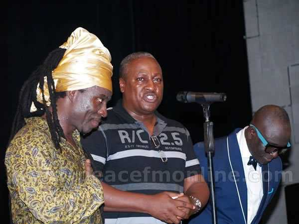 Jojo Antwi with the President John Mahama at one of the concerts (Pix- peacefmonline)